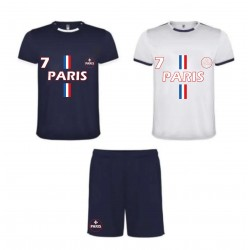 Ensemble foot short avec lot de 2 tee shirt foot Paris bleu et blanc homme
