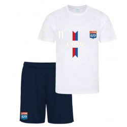 Ensemble short et maillot de foot Paris blanc bleu